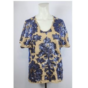 Neiman Marcus  Sequin floral short sleeves